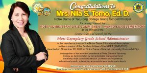 NDEA ADMINISTRATORS' COMMITMENT AWARD – GRADE SCHOOL to Nila  S.  Torno,  Ed.D.